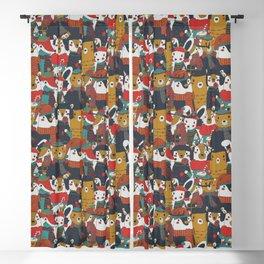 Funky Retro Christmas Animals Blackout Curtain