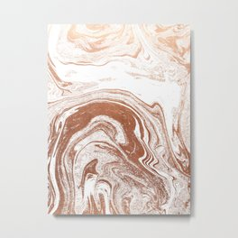 Marble copper metallic suminagashi spilled ink japanese marbling abstract ocean swirl Metal Print