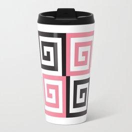 Geometric Pattern #124 (pink Greek spiral) Travel Mug