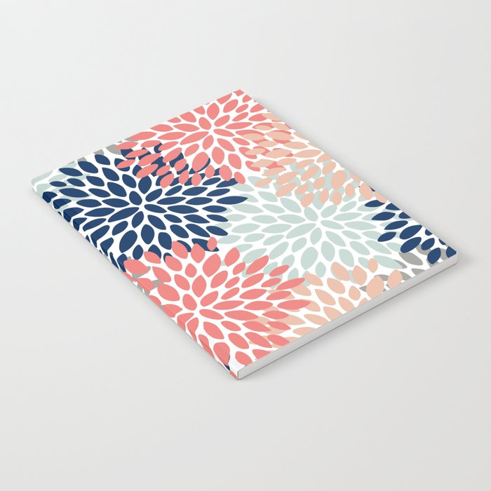 Floral Bloom Print, Living Coral, Pale Aqua Blue, Gray, Navy Notebook