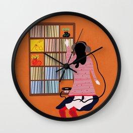 Record collector girl Wall Clock