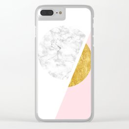 Modern Minimalist White And Gold Marble Art, Scandinavian Minimalism, Large Print Wall Art Decor Clear iPhone Case