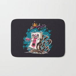 Cartoon Audio Cassette Tape on Dark Background Bath Mat