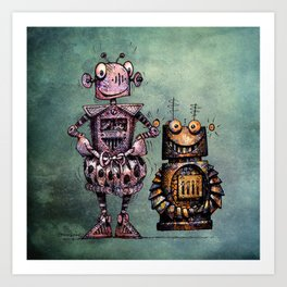 Two Kid's Robots Art Print
