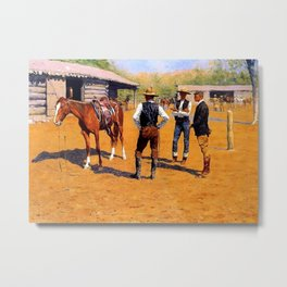 "Frederic Remington Western Art ""Buying Ponies in the West"" Metal Print"