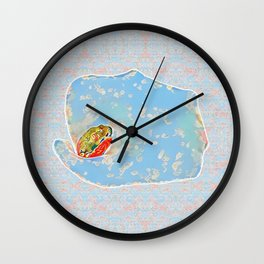 Flower Frog Wall Clock