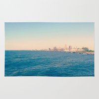 cleveland Area & Throw Rugs featuring Cleveland Skyline  by Julia Blanchette