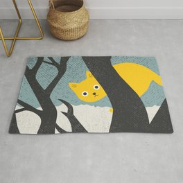 Little Yellow Cat in a Tree Rug