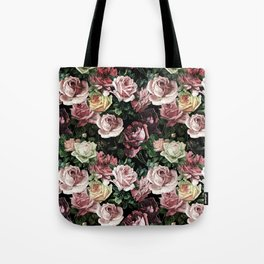 Vintage & Shabby chic - dark retro floral roses pattern Tote Bag
