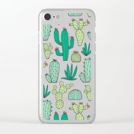Cactus on White Clear iPhone Case