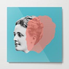 Sarah Orne Jewett - blue orange portrait Metal Print