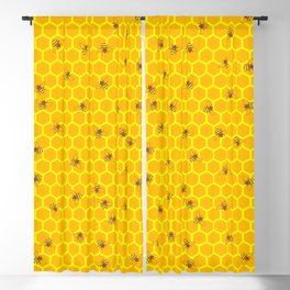Mind Your Own Beeswax / Bright honeycomb and bee pattern Blackout Curtain