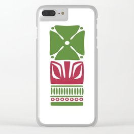 Nordic Green Flower Clear iPhone Case