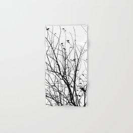 Black white tree branch bird nature pattern Hand & Bath Towel