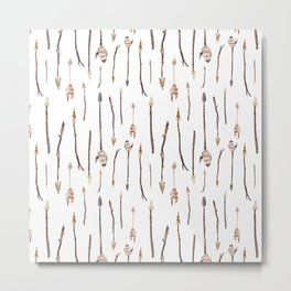 Boho Arrows with Feathers Pattern Metal Print