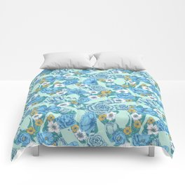 Weapon Floral-Blue Comforters