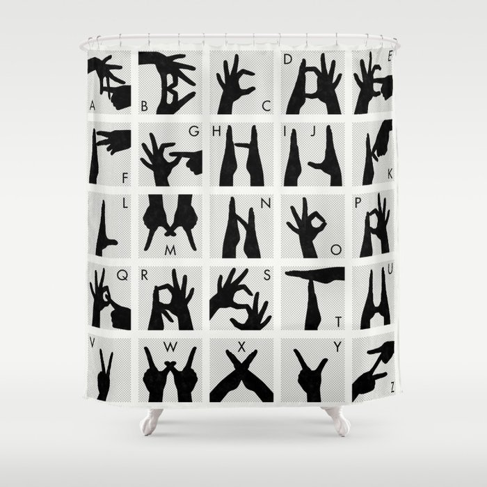 Finger Alphabet for Two Hands Shower Curtain