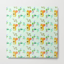 Cute hand painted yellow orange squirrel teal coral floral pattern Metal Print