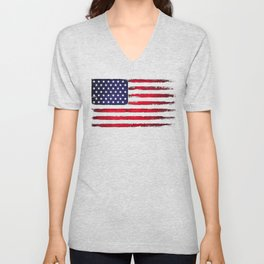 Vintage American flag on black Unisex V-Neck