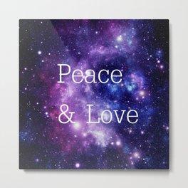 Peace & Love Space purple blue Metal Print