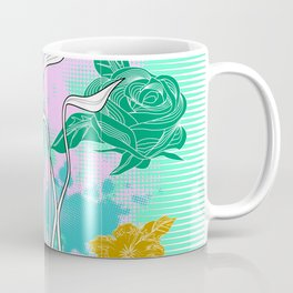 Vector Neon Florals, Abstract Background Coffee Mug