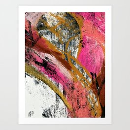 Motivation [3] : a colorful, vibrant abstract piece in pink red, gold, black and white Kunstdrucke