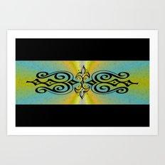 Black Ornaments on yellow blue rainbow Art Print