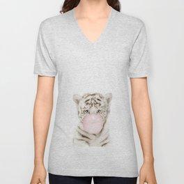 Bubble Gum White Tiger Cub Unisex V-Neck