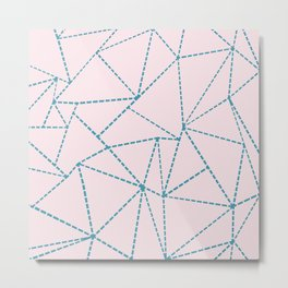 Ab Dotted Lines Blue on Pink Metal Print