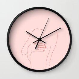 Nude back figure illustration - Kat Pink Wall Clock