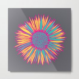 Neon Sunflower Metal Print