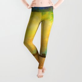 Sky Above Earth Below Fire Within Quote Farmland Landscape Leggings