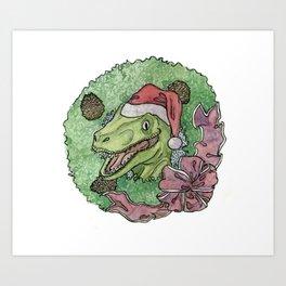Christmas Raptor Art Print