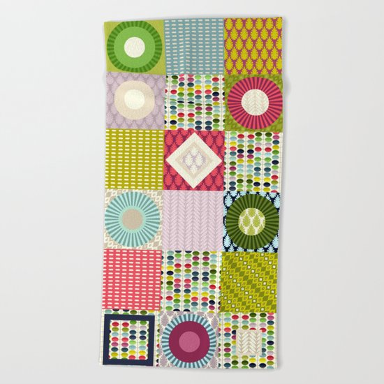leaf squares Beach Towel