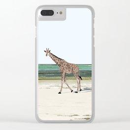 Giraffe walking on a beach of Zanzibar Clear iPhone Case