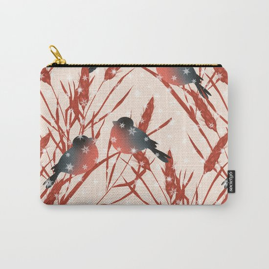 Winter pattern with bullfinches. Carry-All Pouch