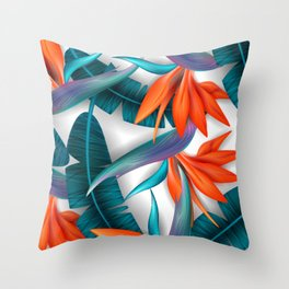 Lovely Sunflower / floral pattern, blossom cluster seamless pattern and palm leaves Throw Pillow