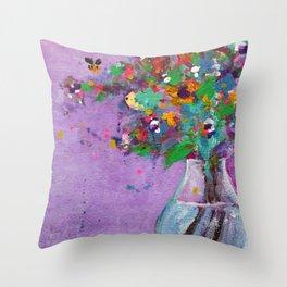 Flower Arrangement in Vase #1 Throw Pillow