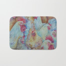 ROOSTERS Birds Animal painting Country style decor Vegan accent Bath Mat