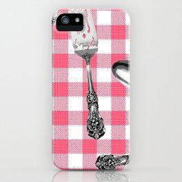 Utensils on Pink Picnic Blanket iPhone Case