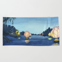 Lanterns On The Lake Beach Towel