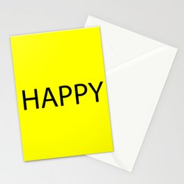 Happy Yellow Black Stationery Cards