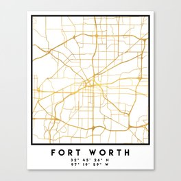 FORT WORTH CITY STREET MAP ART Canvas Print