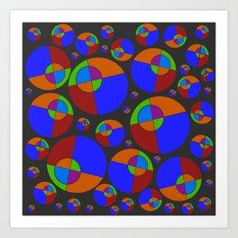 Bubble red & blue 09 Art Print