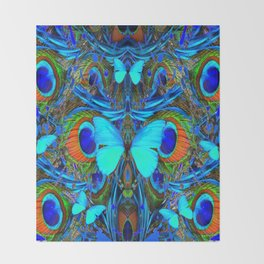 ELECTRIC NEON BLUE BUTTERFLIES & BLUE PEACOCK FEATHERS Throw Blanket