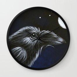 RAVEN CROW BIRD - FULL MOON & STARS Wall Clock