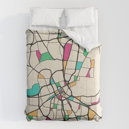 Colorful City Maps: Nashville, Tennessee Comforters