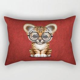 Cute Baby Tiger Cub Wearing Eye Glasses on Deep Red Rectangular Pillow