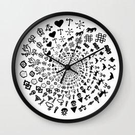 Love Symbol Mandala Black on White Wall Clock