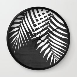 Black Paint Stroke of Palm Leaves Wall Clock
